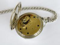 Antique Silver Ehrhardt Pocket Watch & Chain (4 of 4)