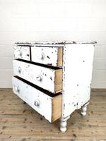Small Distressed White Painted Victorian Chest of Drawers (9 of 10)