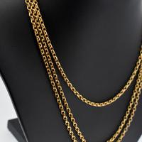 """Antique Victorian Long 18ct Rolled Gold Guard Muff Chain Necklace 54"""" Length (3 of 7)"""