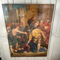 Antique French Religious Oil Painting Study of One of the Stations of the Cross (7 of 10)