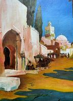 Augusta Coles Moroccan Cityscape Oil Painting Mahogany Fire Screen c.1911 (7 of 16)