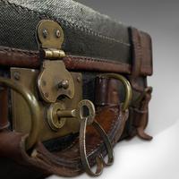 Antique Suitcase, English, Leather, Salesman, Banker, Travel Case, Edwardian (11 of 12)