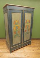 Antique Swedish Style Painted Folk Art Wardrobe Armoire (12 of 22)