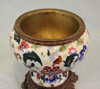 Antique Pottery Oil Lamp & Shade Globe (9 of 12)