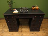 Antique Black Painted Writing Desk with Drawers (4 of 16)