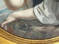 """19th Century Oval Pastel Painting French Neapolitan"""" Nubile Young Woman Feeding Goat Flowers"""" Attributed Fantin Latour Theodore (35 of 51)"""