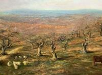 Large Superb Original 19thc West Sussex 'Tilgate Forest' Landscape Oil Painting (9 of 12)