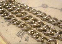 Antique Pocket Watch Chain 1890 Victorian Chunky Silver Nickel Albert With T Bar (5 of 11)