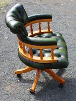1960s Walnut Swivel Office Chair in Green Leather (2 of 3)