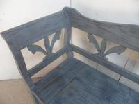 Lovely Grey / Blue 3-4 Seater Antique Pine Kitchen / Hall Box Settle / Bench (6 of 10)