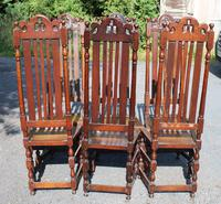 1900's Set 6 Carved Highback Oak Dining Chairs -carolean Style (4 of 5)