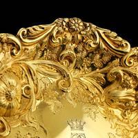 Majestic Antique Solid Silver Gilt Large Dishes / Bowls - Set of 3 - John Aldwinckle & Thomas Slater 1892 (14 of 18)