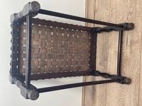 Art Deco Original English Handmade Oak & Leather Strapped Brass Studded Footstool (20 of 22)