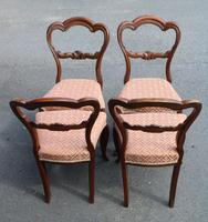 1900's Set of 4 Mahogany Heart Shaped Chairs with Pink Upholstery (3 of 3)