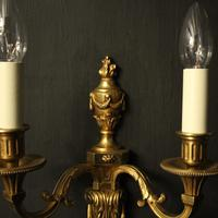 French Set of 3 Twin Arm Antique Wall Lights (4 of 10)