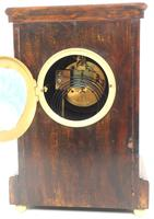 Incredible Rosewood Cased Mantel Clock with Multi Wood & Mother of Pearl Inlay 8-day Striking Clock (7 of 12)