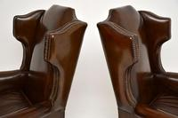 Pair of  Antique  Leather Wing Back Armchairs (7 of 11)