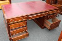 Quality 1960s Mahogany Partners Desk with Red Leather on Top (4 of 4)