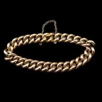 Antique 9ct 9K Gold Curb Bracelet
