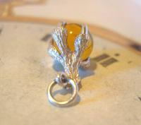 Vintage Silver Pocket Watch Chain Fob 1970s Dainty Talon or Claw Holding an Amber Ball (5 of 9)