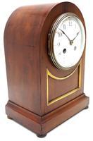 Fine Edwardian Mahogany Balloon Clock Brass Inlay Striking Mantel Clock (3 of 9)
