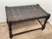 Art Deco Original English Handmade Oak & Leather Strapped Brass Studded Footstool (3 of 22)