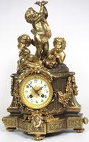 Antique 8 Day Ormolu Mantel Clock Musical Cherub Solid Bronze Striking Mantle Clock