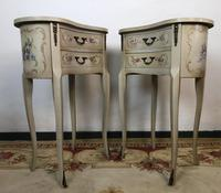 Vintage French Shabby Chic Kidney Shaped Floral Bedside Cabinets (6 of 8)