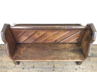 Antique Pitch Pine Church Pew with Enamel Number 27 (5 of 13)