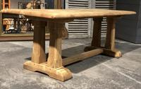 French Bleached Oak Trestle Farmhouse Dining Table (3 of 18)
