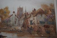 Walter Stuart LLOYD Fishing Village c1900 Watercolour (5 of 5)