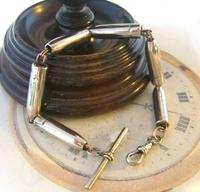 Antique Pocket Watch Chain 1918 WW1 Silver Steel Bullet Casing Albert With T Bar (4 of 11)