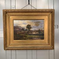 Antique large Scottish landscape oil painting of cottages in Trossachs signed Walter W Banner 1880 (3 of 11)