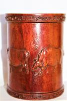 Superb & Finely Carved Chinese Hardwood Brush Pot (2 of 8)