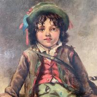 Antique Victorian oil painting portrait of young boy in hat signed JW Roberts 1887 (6 of 10)