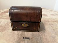 Miniature Leather Trunk Containing a Pair of Clear Glass Scent Bottles (2 of 5)