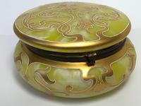 Antique Art Nouveau Loetz Art Glass Round Gilt Floral Trinket Box (33 of 33)
