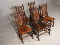 Well Carved Set of 5 '4+1' Carolean Style Oak Chairs c.1910 (2 of 9)