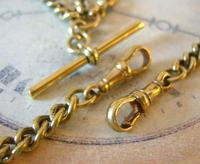 Antique Pocket Watch Chain 1890s Victorian large Brass Double Albert With T Bar (9 of 12)