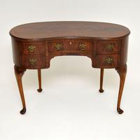 Antique Queen Anne Style Mahogany Kidney Desk / Dressing Table