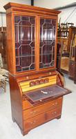 1900's Large Mahogany Cylinder Bureau Bookcase with Key (4 of 6)