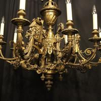 French Gilded Bronze 12 Light Antique Chandelier (2 of 12)