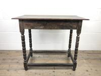 Antique Oak Side Table with Geometric Drawers (5 of 10)