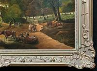 Huge Fabulous 19thc Continental Farming Country Landscape Oil Painting (16 of 19)