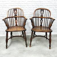 Pair of Named Windsor Lowback Armchairs, F Walker of Rockley (2 of 8)