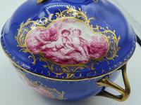 Dresden 19th Century Porcelain Ecuelle, Antique German Porcelain Covered Bowl Plate (6 of 7)