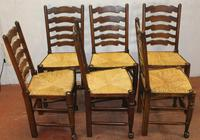 1900's Set of 6 Oak Ladder Back Dining Chairs. Rush Seats (2 of 4)