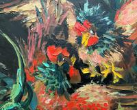 Stunning Original 1970s Vintage Abstract  Acrylic Painting Cocks Fighting - Game (5 of 15)
