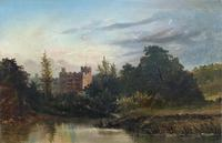 Lovely Original Mid 19th Century Antique British Castle River Landscape Oil Painting (2 of 11)