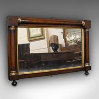 Antique Overmantel Mirror, English, Rosewood, Glass, Rectangular, Regency, 1820